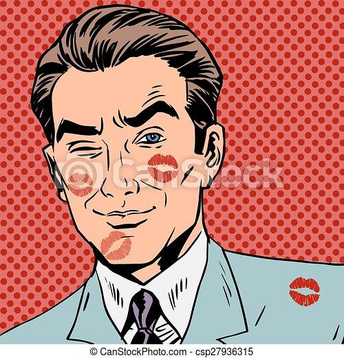 Rastros de un beso en la cara del hombre pop arte retro - csp27936315