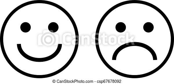 Arte Triste Caras Linha Feliz Emoji