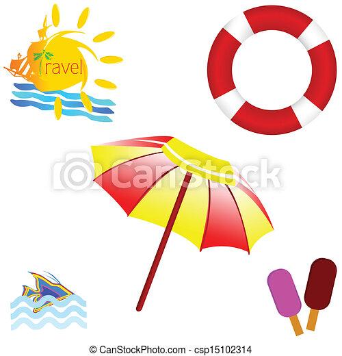 Icono de playa con ilustración de vectores de viaje - csp15102314