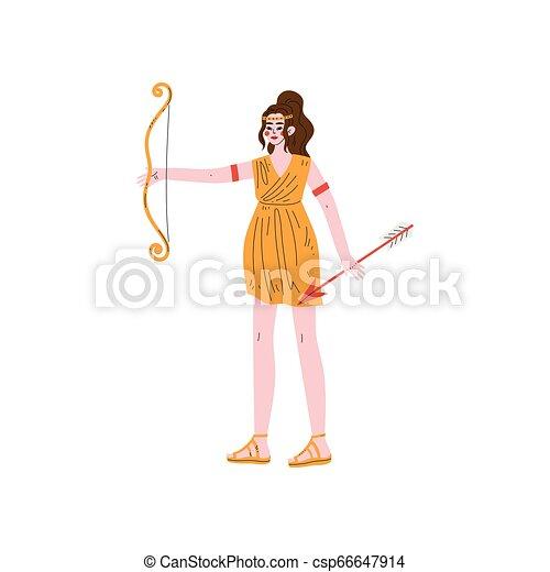 Artemis Olympian Greek Goddess, Ancient Greece Mythology Hero Vector Illustration - csp66647914