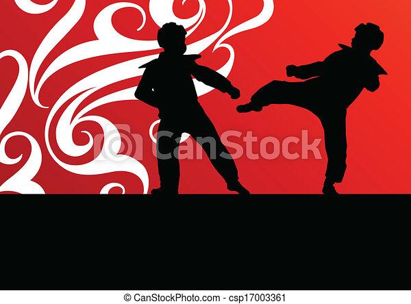 Los combatientes de las artes marciales combaten la lucha y patean siluetas deportivas - csp17003361