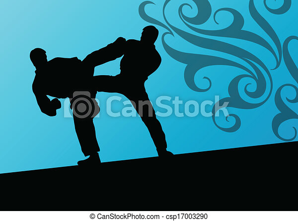 Activos tae kwon do luchadores de artes marciales luchan y patean siluetas deportivas ilustran vector de fondo - csp17003290
