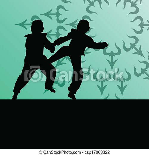 Los combatientes de las artes marciales combaten la lucha y patean siluetas deportivas - csp17003322