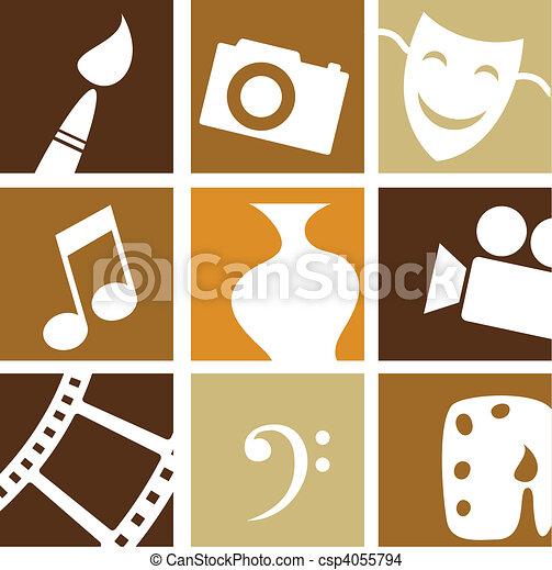 artes, creativo, iconos - csp4055794