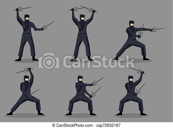 Ninja japonés con sais en caracteres de vector de acción de artes marciales - csp72632187