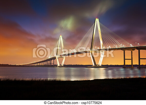 Arthur Ravenel Jr Cooper River Suspension Bridge Charleston SC from Patriots Point South Carolina - csp10775624