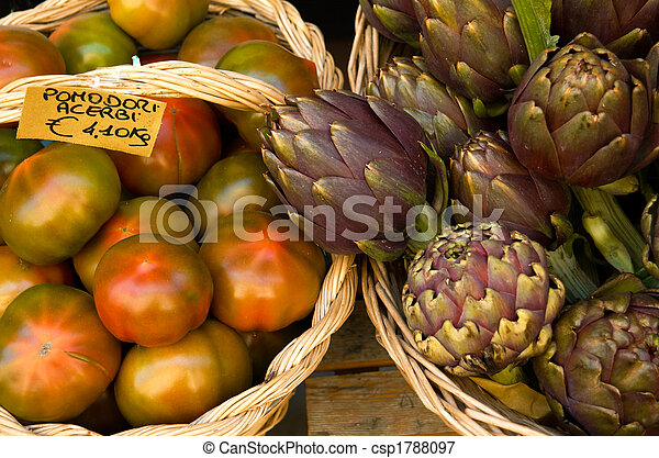 Artichokes and tomatoes, Italy - csp1788097
