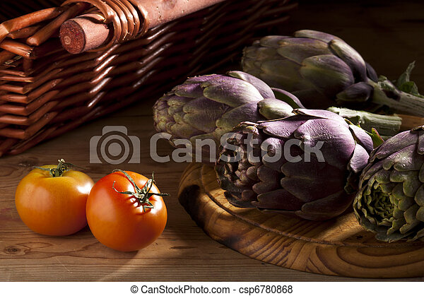 Artichokes and Tomatoes - csp6780868