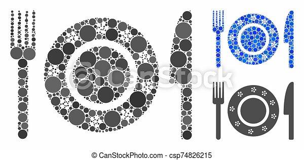 articles, vaisselle, icône, spheric, restaurant, mosaïque - csp74826215