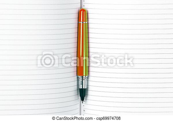 articoli ufficio, blocco note, penna, educazione, aperto, closeup. - csp69974708