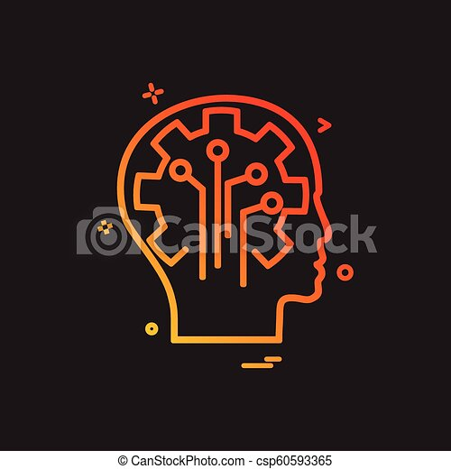 Artificial brain circuit intelligence icon vector design - csp60593365