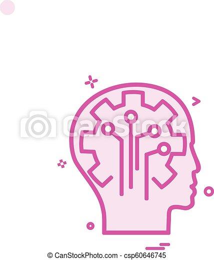 Artificial brain circuit intelligence icon vector design - csp60646745