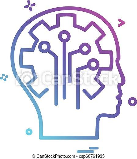 Artificial brain circuit intelligence icon vector design - csp60761935