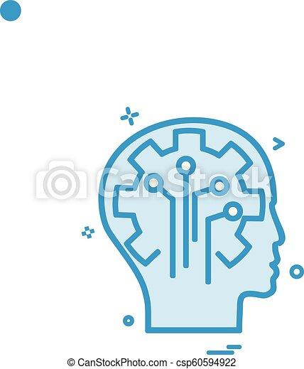 Artificial brain circuit intelligence icon vector design - csp60594922