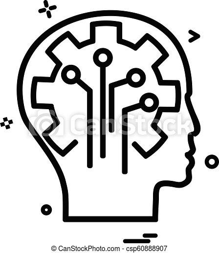 Artificial brain circuit intelligence icon vector design - csp60888907