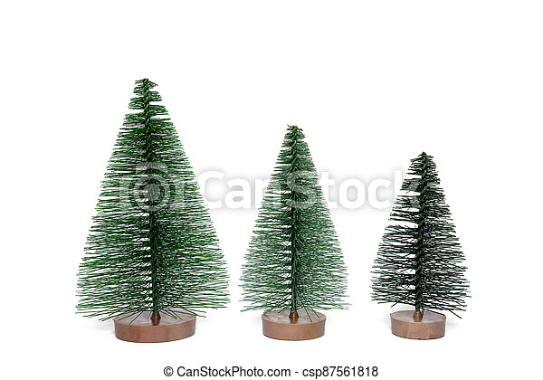 Artificial Christmas tree on a white background. - csp87561818