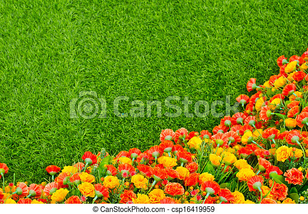 Grass Field With Flowers To Artificial Grass Field And Flowers Csp16419959 Grass Field Flowers top View Texture