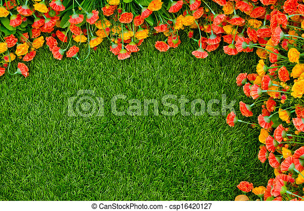 Artificial Grass Field And Flowers Top View Texture