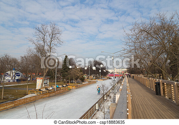 artificial ice rink in winter - csp18883635