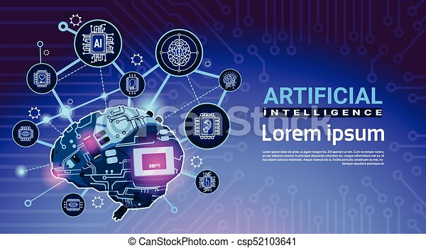 Artificial Intelligence Banner With Cyber Brain Cog Wheel And Gears Over Motherboard Background With Copy Space - csp52103641