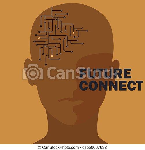 Artificial intelligence connection. Human brain circuit. - csp50607632
