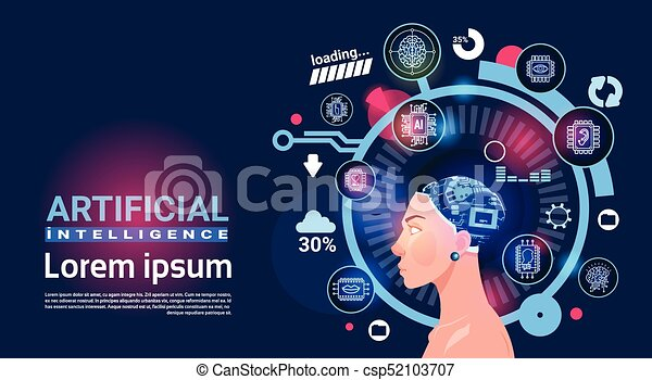 Artificial Intelligence Female Head Cyber Brain Modern Technology Robots Banner With Copy Space - csp52103707