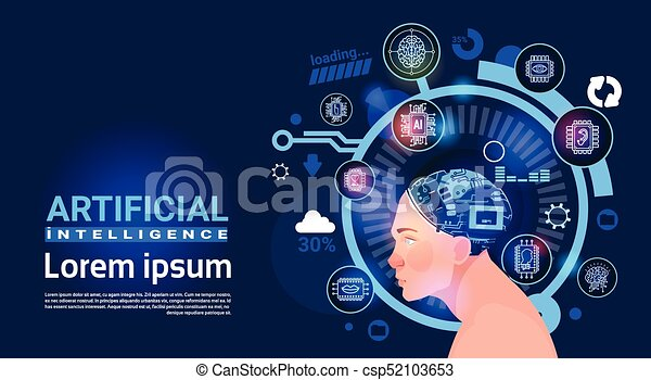 Artificial Intelligence Male Head Cyber Brain Modern Technology Robots Banner With Copy Space - csp52103653