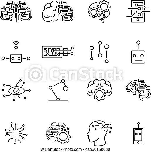 Artificial Intelligence Robotics Outline Icons Collection With