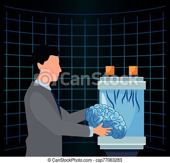 artificial intelligence technology man holding human brain science futuristic - csp77063283