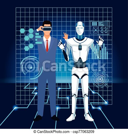 artificial intelligence technology man using vr goggles and cyborg interface - csp77063209