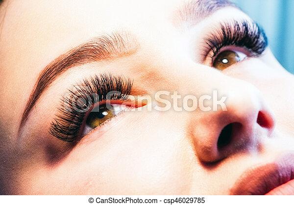 Artificial lashes. eyelash extension - csp46029785