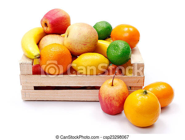 Artificial plastic fruits in wooden crate - csp23298067