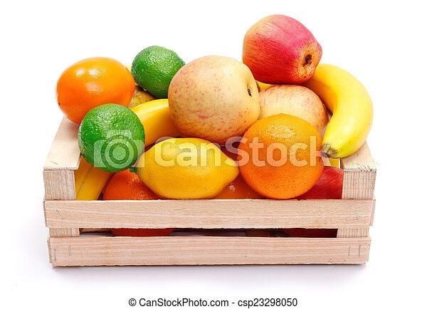 Artificial plastic fruits in wooden crate - csp23298050