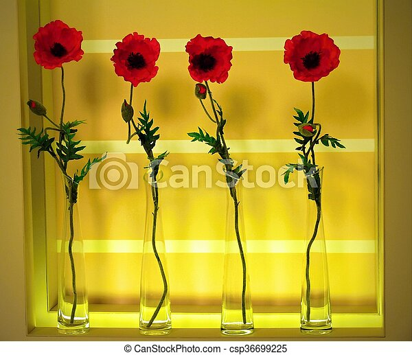 Artificial poppy flowers in long glass vases stock photo search artificial poppy flowers csp36699225 mightylinksfo