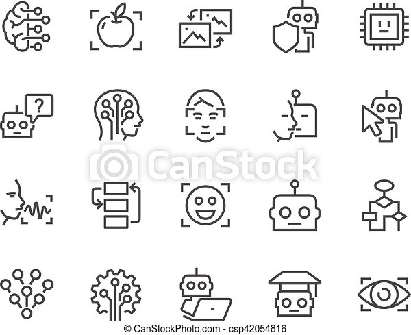 artificiel, ligne, intelligence, icônes - csp42054816
