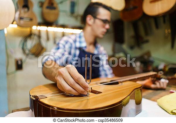 Artisan Lutemaker Tuning Handmade Classic Guitar With Diapason - csp35486509