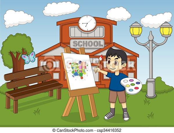 Artist Boy Painting On Canvas   Csp34416352
