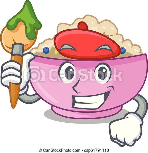 Artist character a bowl of oatmeal porridge - csp61791110