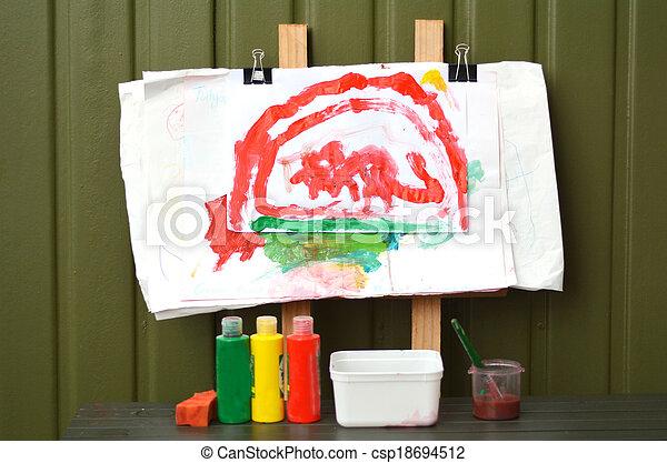 Artist child painting - csp18694512