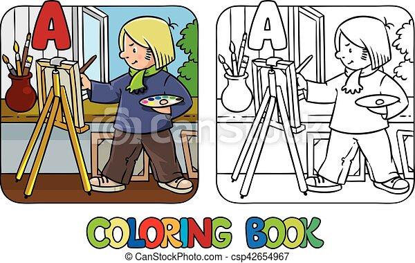 Artist coloring book. profession abc. alphabet a. Coloring picture ...