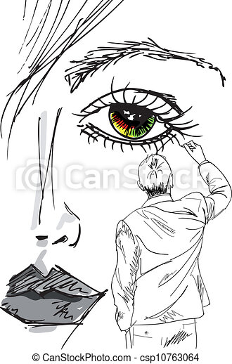 artist draws beautiful woman face. vector illustration - csp10763064