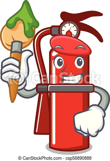 Artist fire extinguisher character cartoon - csp56890888