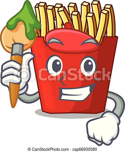 Artist french fries above cartoon table wood - csp66930580