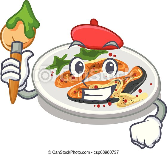 Artist grilled salmon isolated in the mascot - csp68980737