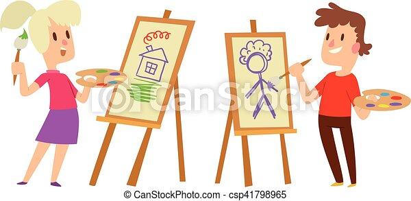 artist kids children vector set boy and girl artist kids children