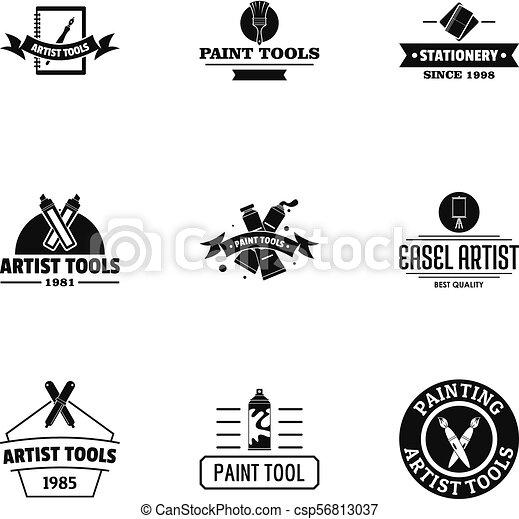 Artist logo set, simple style. Artist logo set. simple set of 9 artist  vector logo for web isolated on white background.