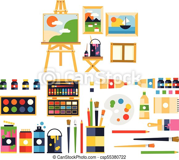 Artist painting tools and artistic materials for painting and creature set  vector illustration