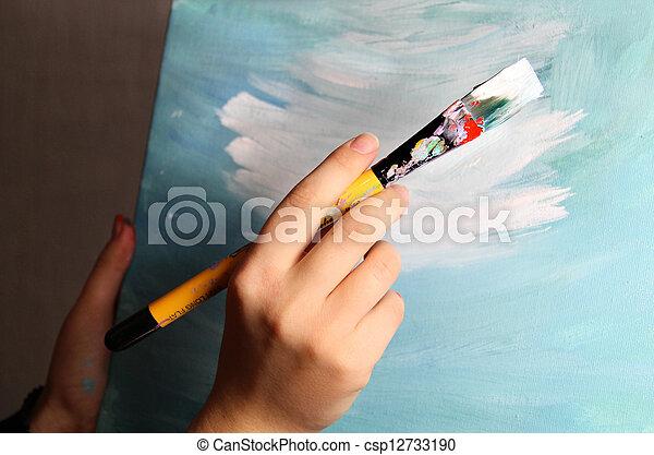 Artist paints a picture - csp12733190