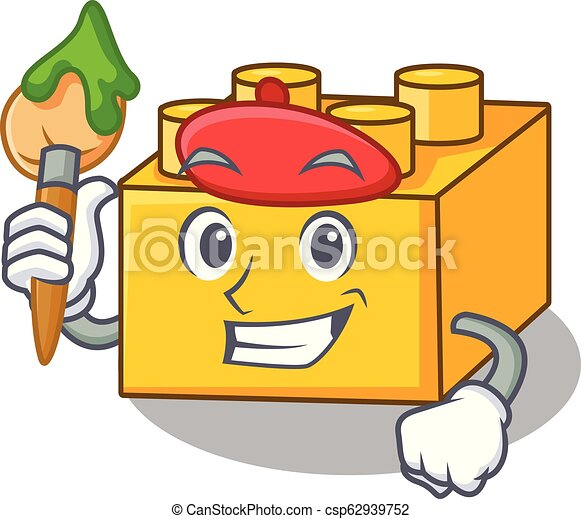 Artist plastic building blocks cartoon on toy - csp62939752