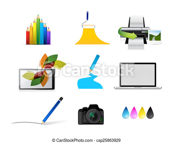 artist tools concept icon set illustration design over white clip rh canstockphoto com Artist Clip Art Tools for Drawing Materials Clip Art